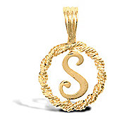 Jewelco London 9ct Gold Rope Initial ID Personal Pendant, Letter S - 0.9g