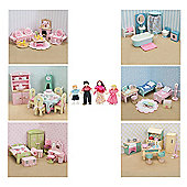 Complete 6 sets of Daisylane Dolls House Furniture with Dolls