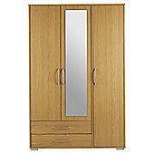 Newport 3 Door 2 Drawer Wardrobe with Mirror Oak