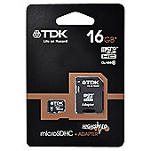 TDK Micro SDHC Memory Card + SD Adapter 16GB