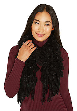 F&F Sparkle Elasticated Scarf - Black