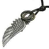 Urban Male Adjustable Dark Brown Leather Necklace with Angel's Wing Pendant