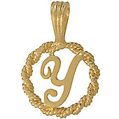 Jewelco London 9ct Gold Rope Initial ID Personal Pendant, Letter Y - 0.9g