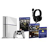PS4 (White) With Battlefield Hardline, The Order 1886, GP3 Headset, PSPlus (3Mth)