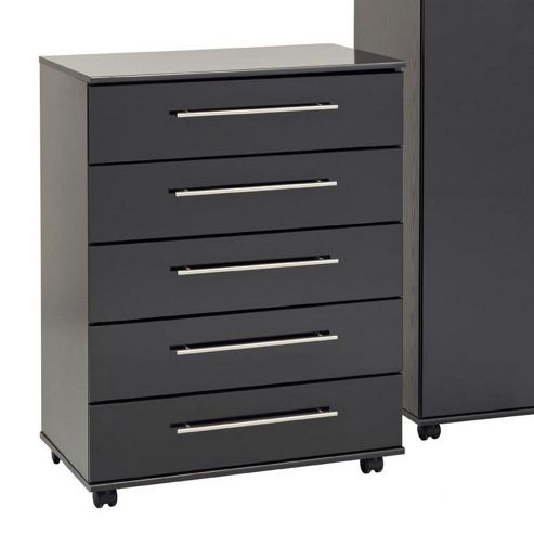 Ideal Furniture New York Five Drawer Chest - Gloss Black
