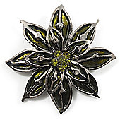 Olive Green Glass Floral Brooch (Silver Tone Metal)