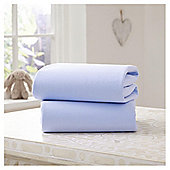 Clair de Lune Fitted Cotton Interlock Sheets - Cot Bed (Blue)
