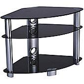 Iconic TV Stand with Black Glass and Silver Legs for up 37 inch