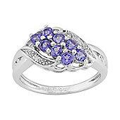 Gemondo Sterling Silver 0.57ct Natural Tanzanite & Diamond Contemporary Style Ring