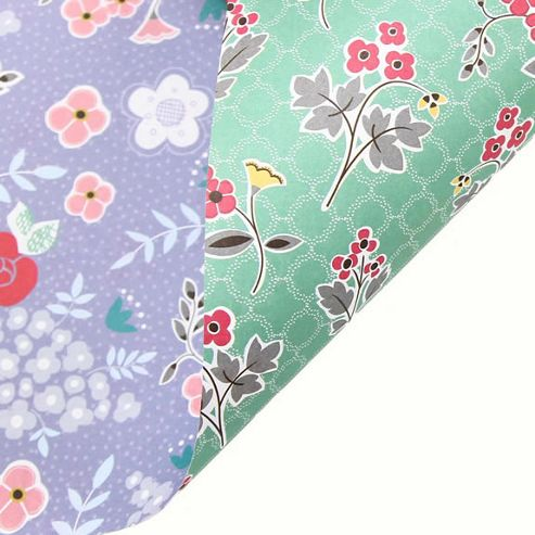 Rosehip Gift Wrap - Double Sided Violet Blue/Green