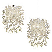 Pair of Leaves & Flowers Ceiling Pendant Light Shades in Cream
