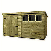 14ft x 6ft Large Pressure Treated T&G Pent Shed + Double Doors + 3 Windows