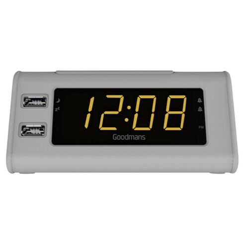 buy goodmans gcrusb03 fm clock radio w usb charging concrete from our clock radio range tesco. Black Bedroom Furniture Sets. Home Design Ideas