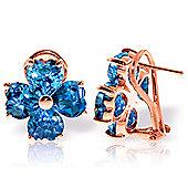 QP Jewellers 7.60ct Blue Topaz Floret Heart Earrings in 14K Rose Gold