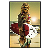 Gloss Black Framed Star Wars Surf Dude Chewie Poster