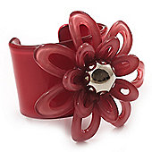 Pale Coral Wide Acrylic Floral Cuff Bangle