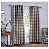 Galloway Check Lined Eyelet Curtains - Natural