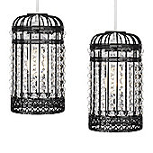 Pair of Birdcage Ceiling Pendant Light Shades in Black