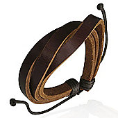 Urban Male Brown Leather Multi Strand Men's Wristband Bracelet