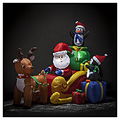 Inflatable Light up Christmas Santa and Friends on Sleigh
