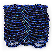 Wide Navy Blue Glass Bead Flex Bracelet - up to 19cm wrist