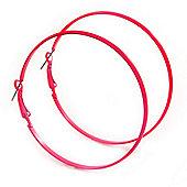 Large Deep Pink Enamel Flat Hoop Earrings In Silver Tone - 60mm Diameter
