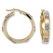 Jewelco London 9ct Yellow gold hoop earrings with White gold screws