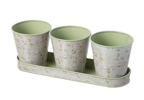 buy parlane set of three small vintage flower plant pots. Black Bedroom Furniture Sets. Home Design Ideas
