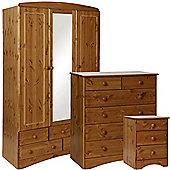 Scandinavian Pine Bedside - 2+4 Chest- 3 Door 5 Drawer Mirror Robe Package