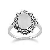 Gemondo 925 Sterling Silver Art Nouveau Moonstone & Marcasite Ring