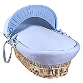 Clair de Lune Natural Wicker Moses Basket (Cotton Candy Blue)