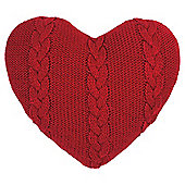 Cable Knit Heart Cushion - Red