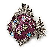 Purple Enamel Exotic Crystal 'Fish' Brooch In Silver Plated Metal