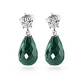 QP Jewellers Diamond & Emerald Illusion Briolette Earrings in 14K White Gold