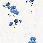 Muriva Orchid Wallpaper - Blue