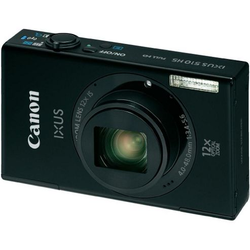 Canon Ixus 510 Digital Camera, Black, 10.1MP, 12x Optical Zoom, 3.2 inch LCD Screen