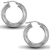 Jewelco London Sterling Silver Twist Hoop Earrings - 4mm