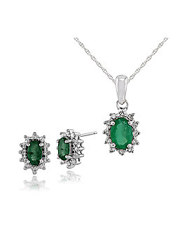 9ct White Gold Emerald & Diamond Classic Cluster Stud Earrings & 45cm Necklace Set