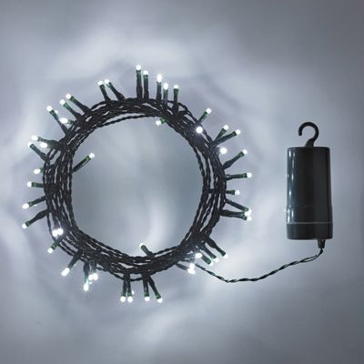 Image of 100 Cool White LED Outdoor Battery Fairy Lights on Green Cable