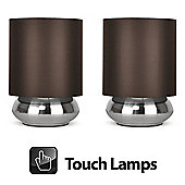 Pair of Touch Table Lamps in Brushed Chrome with Brown Shades