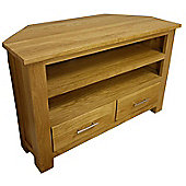 Oakland Chunky Oak Corner TV DVD Video Unit