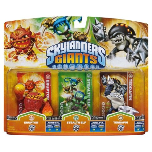Skylanders Giants - Triple Character Pack - Eruptor, Stealth Elf & Terrafin