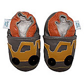 Dotty Fish Soft Leather Baby Shoe - Grey and Yellow Digger - 0-6 mths