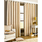 Paoletti - Belmont Lined Chenille Eyelet Jacquard Woven Curtains - Beige