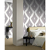 Graham & Brown Ikat Wallpaper - Soft Grey