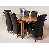 Farmhouse Rustic Solid Oak 160 cm Butterfly Extending Dining Table with 6 Montana Leather Chairs (Brown)