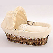 Clair de Lune Stardust Dark Wicker Moses Basket (Cream)
