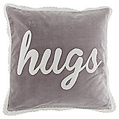 Applique Hugs Lace Border Cushion