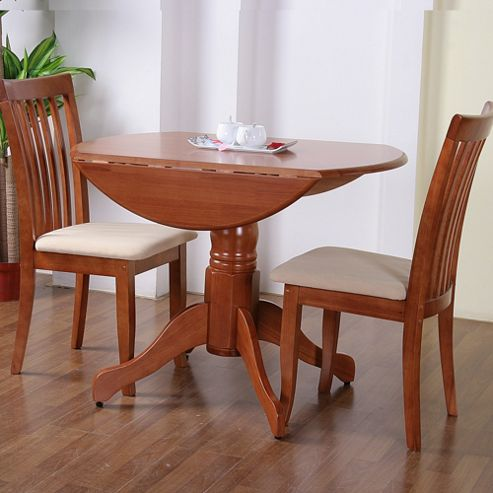 G&P Furniture Windsor House 3-Piece Bristol Round Drop Leaf Dining Set with Slatted Back Chair - Cherry