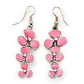 Delicate Triple Flower Light Pink Enamel Drop Earrings (Silver Plated Metal) - 5.5cm Length